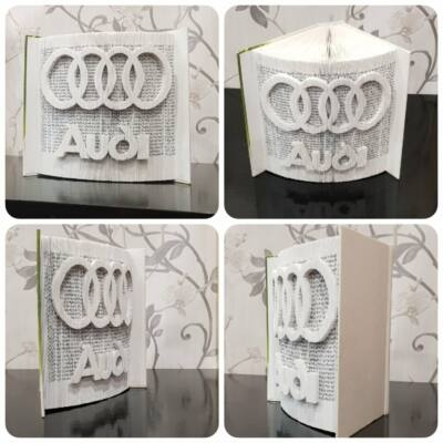 Audi mintázatú könyvszobor